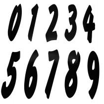 Nummer 0-9 svart
